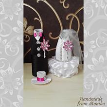 Nádoby - Svadobné návleky na fľaše s menom - 10929920_