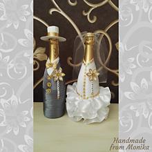 Nádoby - Svadobné gratulačné fľaše - 10929923_