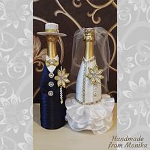 Nádoby - Svadobné gratulačné fľaše - 10929924_