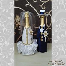 Nádoby - Svadobné gratulačné fľaše - 10929934_
