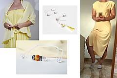 Šaty - ľanové žlté šaty - 10929346_