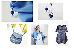 Kabelky - Mini kabelka bavlnená modrá - 10929519_