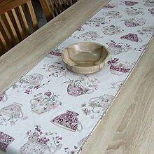 Úžitkový textil - ETELA-kvetinové šálky režnej-stredový behúň 170x40 - 10930118_