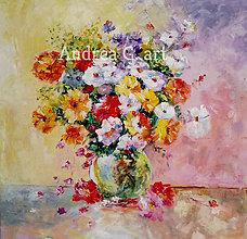 Obrazy - Olejomaľba - Kvety - 10929531_