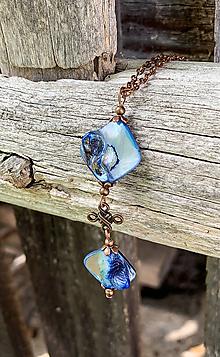Náhrdelníky - Modrá perleť - náhrdelník - 10931614_