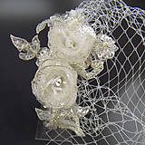 Ozdoby do vlasov - Francouzský svatební závoj Flower - 10934149_