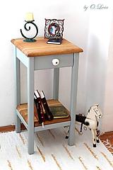 Nábytok - 2 Stolíky so šuflíkom /cena za sadu 2 ks/ - DUB + šedá - 10934147_