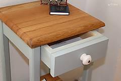 Nábytok - 2 Stolíky so šuflíkom /cena za sadu 2 ks/ - DUB + šedá - 10934164_