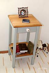 Nábytok - 2 Stolíky so šuflíkom /cena za sadu 2 ks/ - DUB + šedá - 10934168_