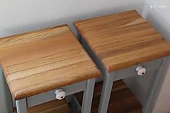 Nábytok - 2 Stolíky so šuflíkom /cena za sadu 2 ks/ - DUB + šedá - 10934170_