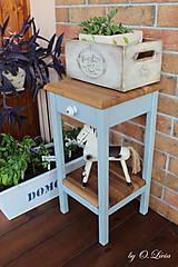 Nábytok - 2 Stolíky so šuflíkom /cena za sadu 2 ks/ - DUB + šedá - 10934188_