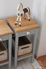 Nábytok - 2 Stolíky so šuflíkom /cena za sadu 2 ks/ - DUB + šedá - 10934189_