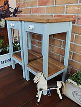 Nábytok - 2 Stolíky so šuflíkom /cena za sadu 2 ks/ - DUB + šedá - 10934192_
