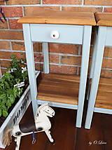 Nábytok - 2 Stolíky so šuflíkom /cena za sadu 2 ks/ - DUB + šedá - 10934193_