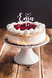 Dekorácie - Zápich na tortu - meno so srdiečkom - 10933442_