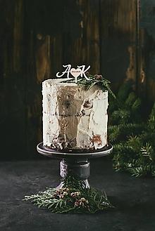 Dekorácie - Svadobný zápich na tortu - Iniciály s dátumom svadby - 10933800_