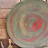 Nádoby - Dubová misa olivovo-červená Ø32,5 - 10933374_
