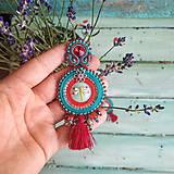 Náušnice - Red&Turquoise- sutaškové náušnice - 10932488_