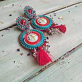 Náušnice - Red&Turquoise- sutaškové náušnice - 10932489_