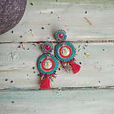 Náušnice - Red&Turquoise- sutaškové náušnice - 10932490_