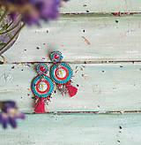 Náušnice - Red&Turquoise- sutaškové náušnice - 10932491_