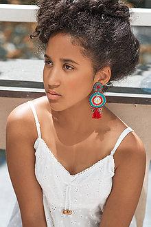 Náušnice - Red&Turquoise- sutaškové náušnice - 10932492_