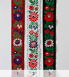 Opasky - Folk opasok 5 cm obojstranný z krojových stúh podľa želania (Čierno-červený opasok so stuhou na želanie) - 10934642_