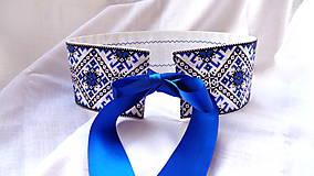 Folkový / folklórny  opasok Modrý s čipkou - obojstranný