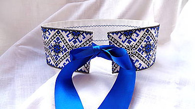 Opasky - Folkový / folklórny  opasok Modrý s čipkou - obojstranný - 10934620_