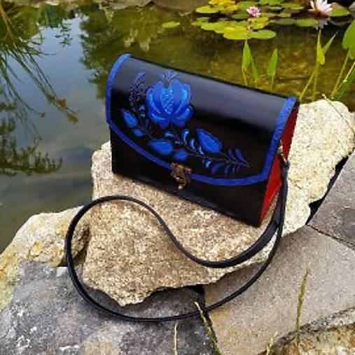 Kožená kabelka - ľudový vzor