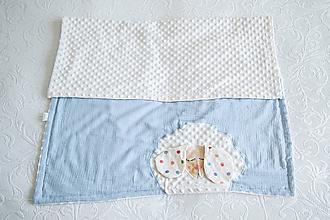 Textil - #dekovka baby blue - Detská deka z minky a mušelínu - 10935151_