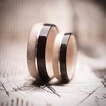 Prstene - Drevená obrúčka- parožie/eben - 10933488_