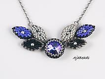 Náhrdelníky - Náhrdelník - lístky se Swarovski - modrá - 10932464_