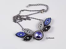 Náhrdelníky - Náhrdelník - lístky se Swarovski - modrá - 10932471_
