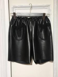 """Nohavice - Kožené kraťasy s tylovými vreckami a čipkou """"Celine"""" - 10932566_"""