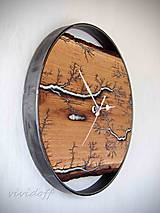 Hodiny - hodiny fractal dubovokovové - 10938263_