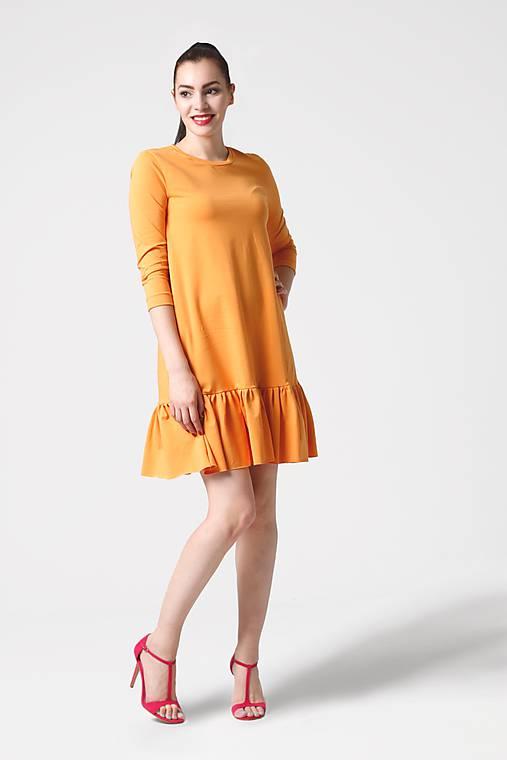 Šaty - Šaty žlté voľné s volánom - 10935854_