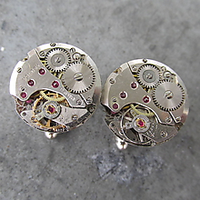 Šperky - MANŽETOVÉ KNOFLÍČKY, SWISS MADE STROJEČKY - 10935707_