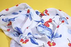 Textil - FRUITS gázovinová prikrývka Čerešne - 10938629_