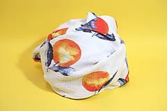 Textil - FRUITS gázovinová prikrývka Mandarínky - 10938631_