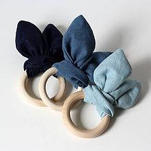 Hračky - Drevené hryzátka pre bábätko Ľanové modré - 10935979_