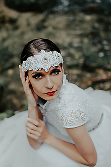 Ozdoby do vlasov - Svadobná čelenka - 10938363_