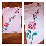Tričká - Maľované Dámske tričko Ruža - 10935516_