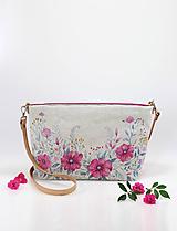 "Kabelky - Ručne maľovaná kabelka z ľanu ""Fuchsia florie"" - 10937349_"