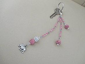 Kľúčenky - SLON - kľúčenka/šperková dekorácia - ružovo/strieborná - 10937371_