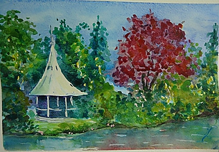 Obrazy - Lednice , altánok, akvarel - 10938527_