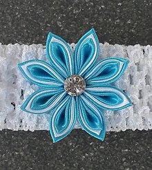 Detské doplnky - Detská elastická čelenka bielo modrá - 10938007_