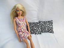 Úžitkový textil - Sada mini vankúšikov pre Barbie 2 ks (čierno - biela) - 10937015_