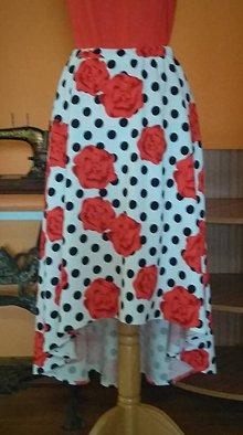 Sukne - Asymetrická sukňa  kvety - 10938509_