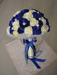 Dekorácie - Svadobná kytica v kráľovskej modrej - 10936884_